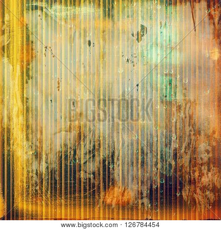 Colorful grunge texture or background with vintage style elements and different color patterns: yellow (beige); brown; green; red (orange); gray