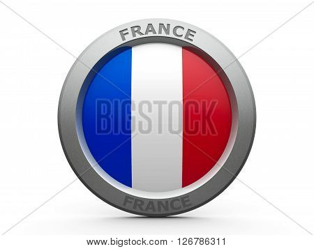Emblem - Flag of France - isolated on white three-dimensional rendering 3D illustration