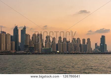 Evening Cityscape Of Dubai City, Uae