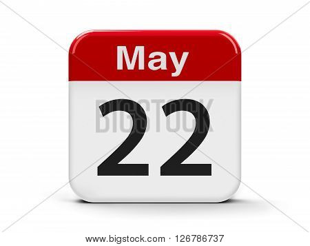 Calendar web button - The Twenty Second of May - International Day for Biological Diversity three-dimensional rendering 3D illustration