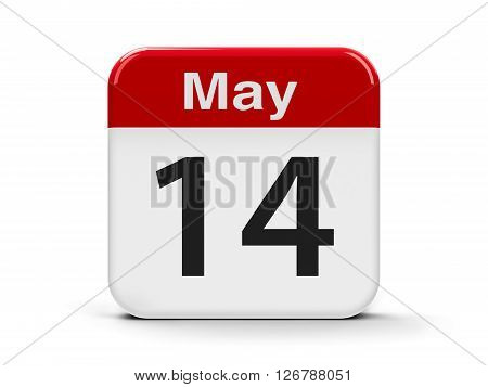 Calendar web button - The 14th of May three-dimensional rendering 3D illustration
