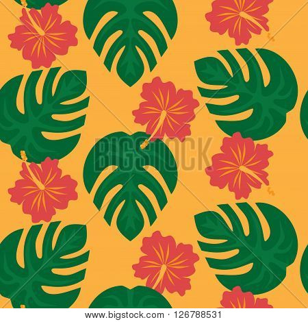 Set of tropical palm leaves and flowers hibiscus flower hawaii, exotic summer flower background pattern