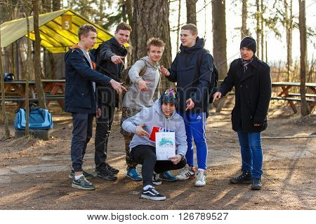 Saint-Petersburg, Russia - April 10, 2016: Paintball student tournament of Bonch Bruevich university in Snaker club. Winners of the tournament.