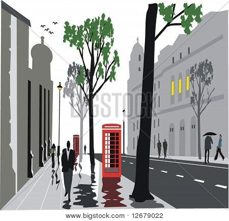 Whitehall street, London illustration