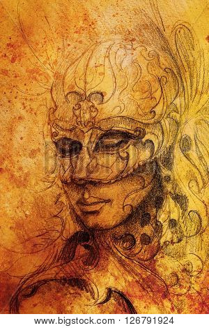 pencil drawing on paper, woman in ornamental Venetian mask