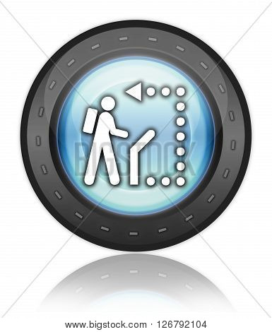 Icon Button Pictogram with Self-Guiding Trail symbol