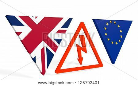 United Kingdom exit from europe relative image. Brexit named politic process. Referendum theme. High voltage sign between EU and UK flags. 3D rendering
