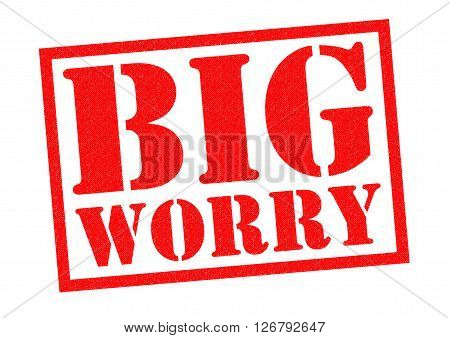 BIG WORRY red Rubber stamp over a white background.