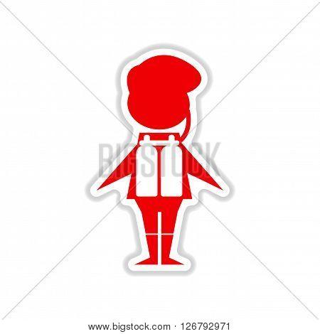 paper sticker on white  background male diver