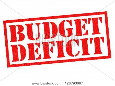 BUDGET DEFICIT red Rubber Stamp over a white background.