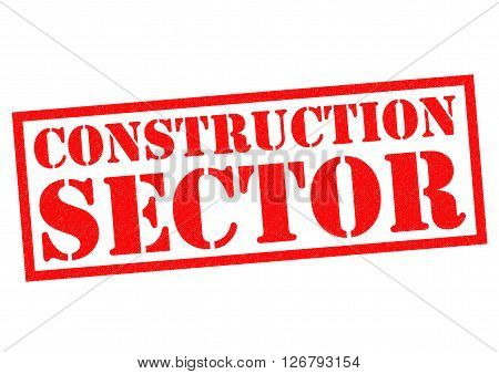 CONSTRUCTION SECTOR red Rubber Stamp over a white background.