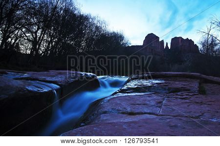 A View of Sedona's Oak Creek and Cathedral Rock Before Sunrise