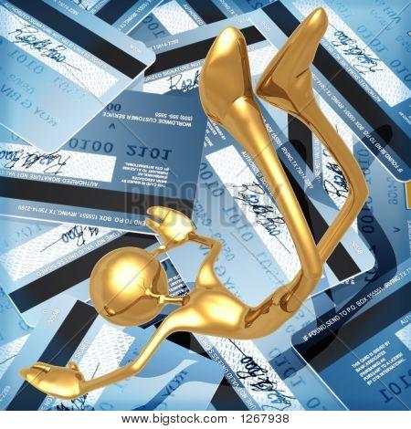 3D Credit Card Concept Falling Into Debt