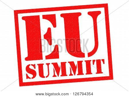 EU SUMMIT red Rubber Stamp over a white background.