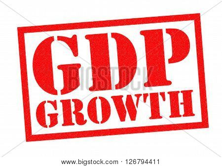 GDP GROWTH red Rubber Stamp over a white background.