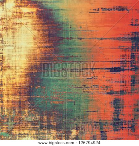 Aged grunge graphic background with shabby texture in vintage style. With different color patterns: yellow (beige); brown; green; blue; red (orange)