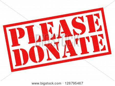 PLEASE DONATE red Rubber Stamp over a white background.