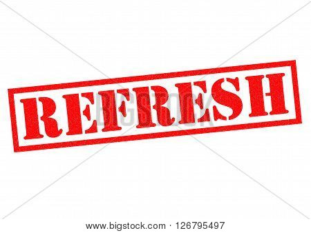 REFRESH red Rubber Stamp over a white background.