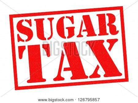 SUGAR TAX red Rubber Stamp over a white background.