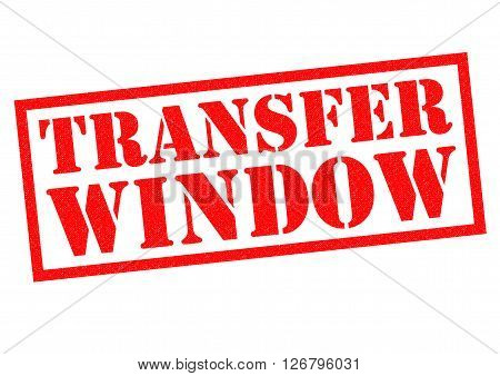 TRANSFER WINDOW red rubber stamp over a white background.