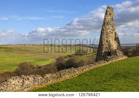 Remains of the historic Hadleigh Castle in Essex England.