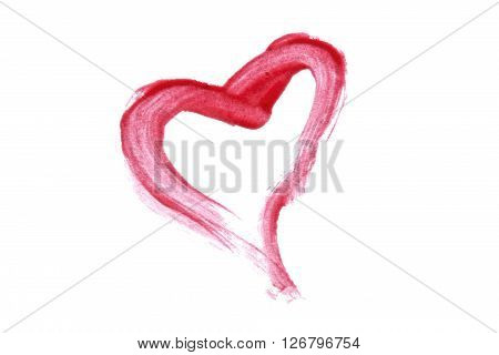 Pink lip gloss heart on white background