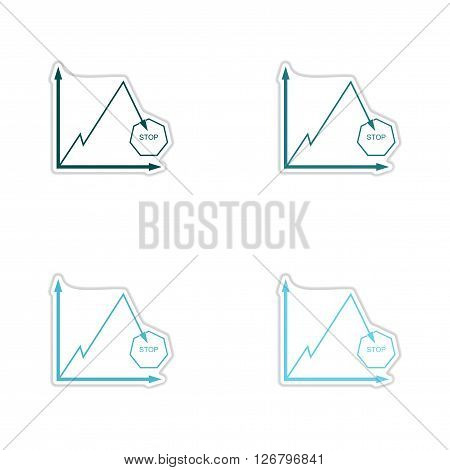 Set of paper stickers on white  background falling graph
