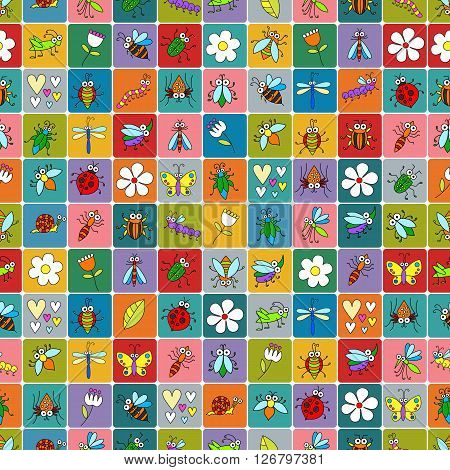 Seamless background with funny cartoon insects on colorful squares. Cute fly, butterfly, dragonfly, snail, beetle ant spider, ladybug, grasshopper, bee, mosquito. Childish illustration in cartoon style.