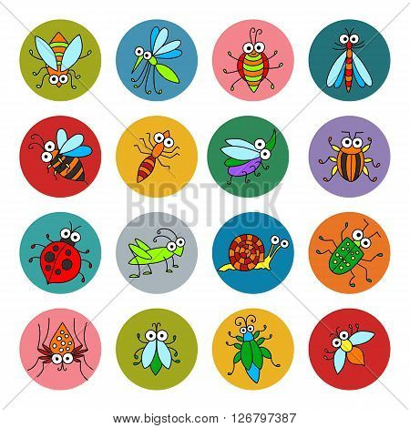 Set of vector funny insects icons. Cartoon characters on colored basis for you design. Childish illustration. Cute stickers.
