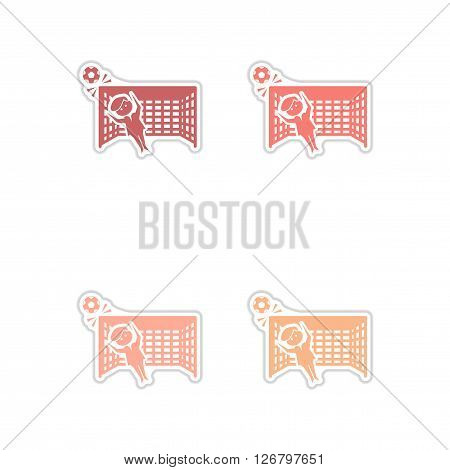 Set of paper stickers on white  background soccer goalie