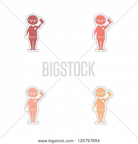 Set of paper stickers on white  background referee