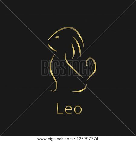 Leo Zodiac sign. Leo abstract symbol. Leo golden icon. Lion symbol. Lion golden icon. Lion sign