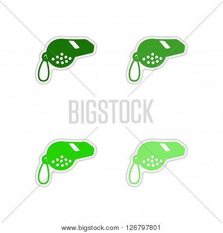 Set of paper stickers on white  background whistle