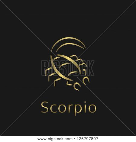 Scorpio Zodiac sign. Scorpio abstract symbol. Scorpio golden icon. Scorpion astrology symbol
