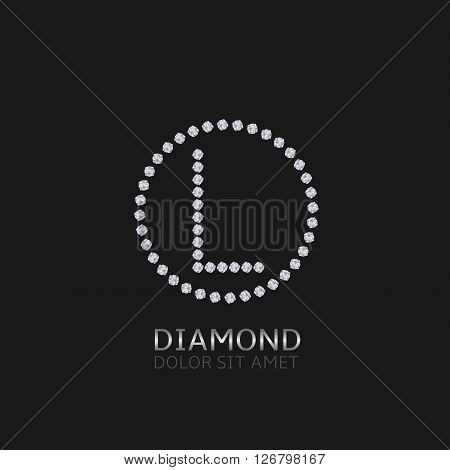 L Letter with diamonds. Expensive, presious symbol. Luxury logo