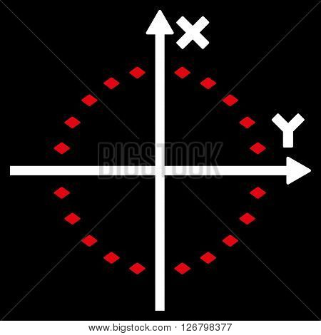 Dotted Circle Plot vector toolbar icon. Style is bicolor flat icon symbol, red and white colors, black background, rhombus dots.