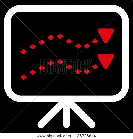 Dotted Trends Board vector toolbar icon. Style is bicolor flat icon symbol, red and white colors, black background, rhombus dots.