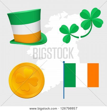 st Patrick day congratulation signs objects hat, clovers leafs, irish flag and gold coin money, symbols of rich, wealth and good luck