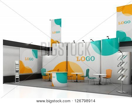 Blank creative exhibition stand design with color shapes. Booth template. Corporate marks and corporate identity. 3d render
