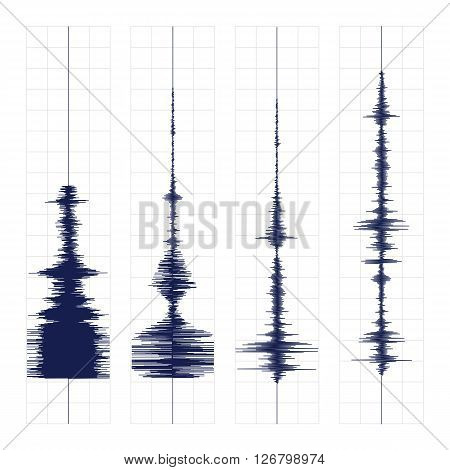 Seismogram of different seismic activity record vector illustration, earthquake wave on paper fixing, stereo audio wave diagram background
