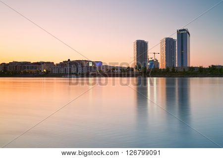 BRATISLAVA, SLOVAKIA - APRIL 21, 2016: View of a modern development by river danube in Bratislava city, Slovakia on April 21, 2016.