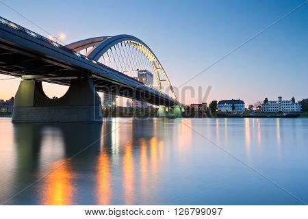 BRATISLAVA, SLOVAKIA - APRIL 21, 2016: Apollo bridge over river Danube in Bratislava, Slovakia on April 21, 2016.