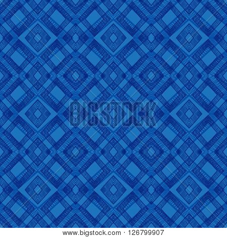 Abstract seamless hand drawn pattern of blue rhomb on white background. Design element for background, textile, paper packaging and other. Vector illustration.