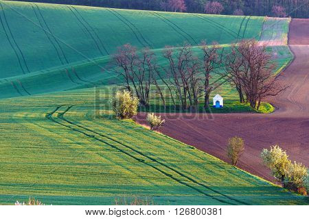 Moravian Tuscany is called a corrugated landscape near Kyjov Moravia Czech Republic