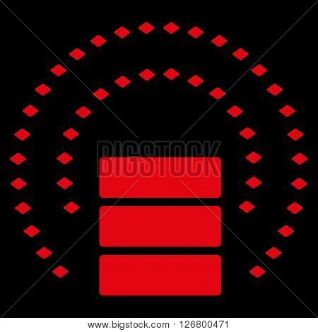 Database Sphere Shield vector toolbar icon. Style is flat icon symbol, red color, black background, rhombus dots.