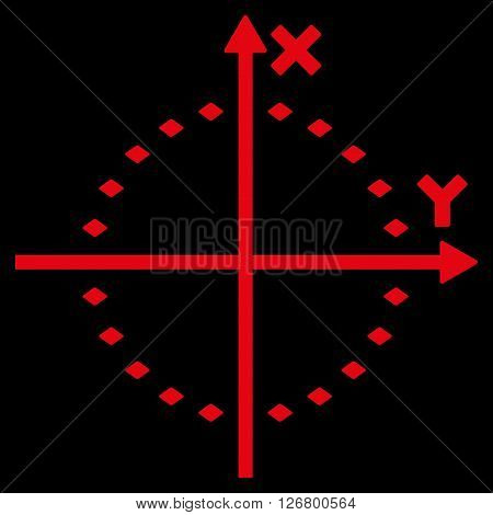 Dotted Circle Plot vector toolbar icon. Style is flat icon symbol, red color, black background, rhombus dots.