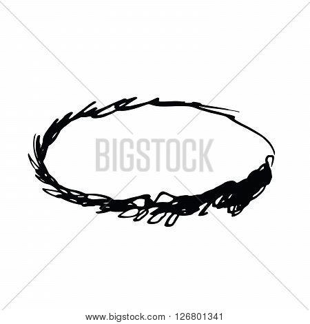 Grunge vector frame oval shape. Ink oval frame. An old frame. Oval vector background
