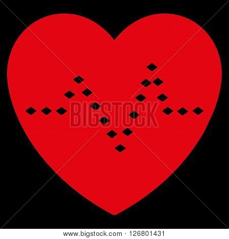 Dotted Heart Pulse vector toolbar icon. Style is flat icon symbol, red color, black background, rhombus dots.