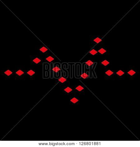 Dotted Pulse vector toolbar icon. Style is flat icon symbol, red color, black background, rhombus dots.