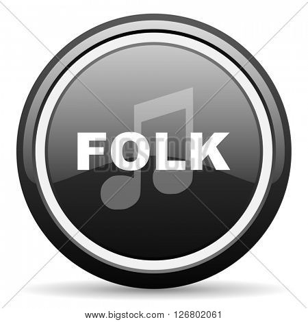 folk music black circle glossy web icon